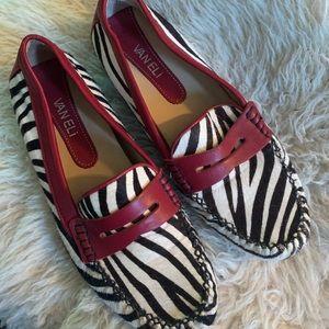 VANELI Zebra Print Penny Loafers
